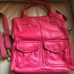 Fuchsia Fossil Fold Over Crossbody